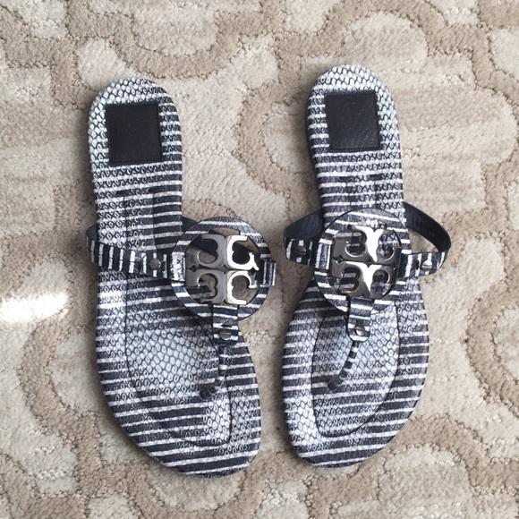 3fe4d3dc5a540e Tory Burch Striped Snakeskin Miller 2 sandals. M 5a69f28ea44dbef800afa16b